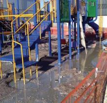 Flooding in a playground under construction